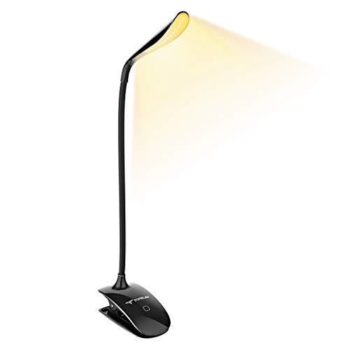 TOPELEK [Lumière Blanc Chaud et Froid] 15 LED Lampe de Lecture Clipsable Tactile, Lampe de Bureau...
