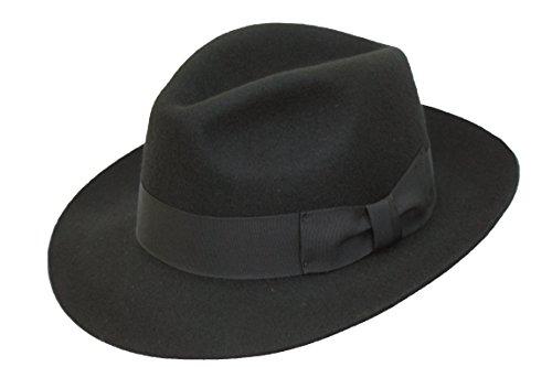 Hochwertige Handarbeit Herren Fedora Trilby-Hut, Filz, mit breiter Krempe, 100% Wolle, Schwarz, 62 cm Fedora