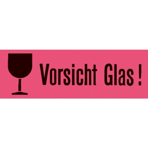 Herma 6750 Leucht-Versandzettel mit Warnhinweis Aufdruck Vorsicht Glas (39 x 118 mm) 1.000 Stück, rot