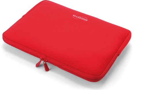 Emartbuy® Dicota Rot Water Resistant PerfectSkin Neopren Soft Zip Case Cover geeignet für MSI GP60-2QFi585FD 15.6 Zoll Notebook (15-16 Zoll Laptop/Notebook / Ultrabook)