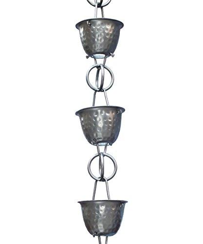 Monarch Aluminium gehämmert Tasse Regen Kette, 8–1/2Füße Länge (Zinn Bronze) 8.5' Pewter Bronze (Fuß Zinn)