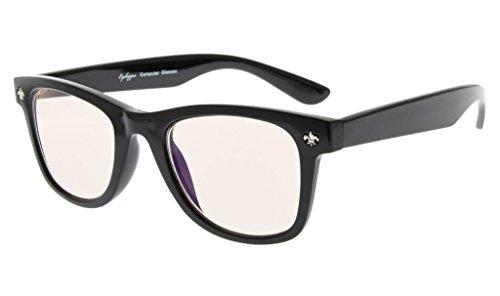 Eyekepper Anti luz azul gafas de bloqueo, antifatiga, filtro de luz UV (UV400) protección gafas de ordenador Classic 80 anteojos, Ámbar teñidos lentes (Negro,+0.00)