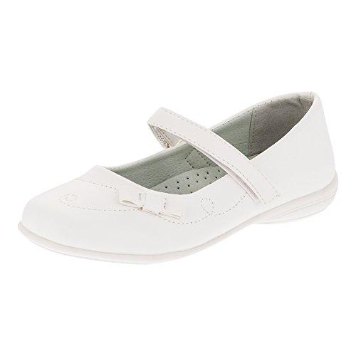 Mimi Monkey Festliche Mädchen Ballerinas Schuhe für Hochzeit Kommunion Blumenmädchen und Freizeit M341ws Weiß 29 (Schuhe Hochzeit Mädchen)