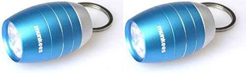 munkees 2 x LED Taschenlampe Hell Schlüsselanhänger Mini Tonnenform, Blau, Doppelpack, 108269