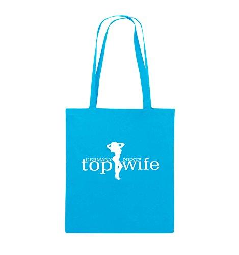 Comedy Bags - GERMANY NEXT top wife - Jutebeutel - lange Henkel - 38x42cm - Farbe: Schwarz / Silber Hellblau / Weiss