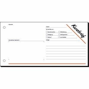 Sigel Formularbuch Kurzmitteilung 1/3 A4 VE=100 Blatt