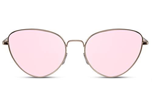 Cheapass Sonnenbrille Katzenauge Runde Form Gold Metall Pink verspiegelte Gläser 100% UV400 Schutz Frauen