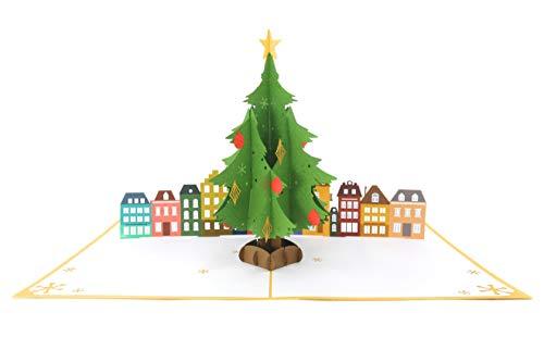 PopLife Cards Winter-Schneeflocke 3d Pop-up-Grußkarte - Baum Trimmer, Crafters, Scrapbookers - Falten flach für den Versand - Urlaub Party, weißer Elefant, Weihnachts-Office-Geschenk