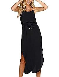 62ef166350cc Vestito Lungo Chiffon con Spacco Vestiti Lunghi Estivi da Spiaggia Senza  Maniche Estate Boemia Abiti da Giorno…
