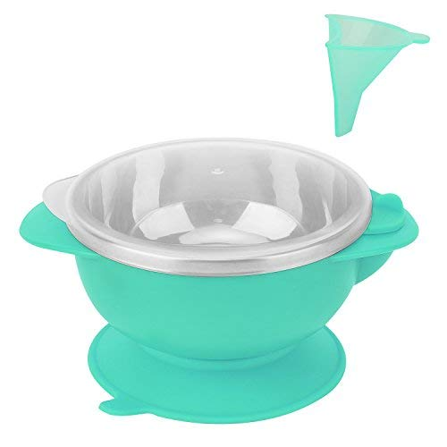 Zooawa Baby Suction Bowl with Funnel Water Injection, Stainless Steel Feeding Bowl Nonslip Insulated Water Dinnerware for Babies, BPA-Free, for Over 12 Months Infants, Blue Blue Steel Wash