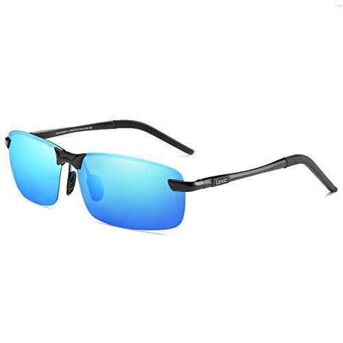LZXC Herren Polarisierte Fahren Sonnenbrillen Sport im Freien Eyewear Unzerbrechlich Spring Scharnier Ultra-light AL-MG Schwarzer Rahmen Grün Objektiv für Männer