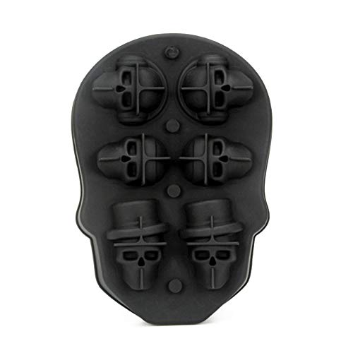 (kdheart Eisförmchen Ice Cube Form Ice Tablett Form Skull schwarz Silikon Ice Cream Bar Cocktails Obst Trinken Küche Whisky Backen)