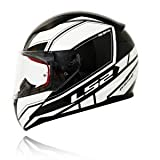 LS2 Helmet Infinity Black White with Anti Fog Visor Full Face Helmet (XL)