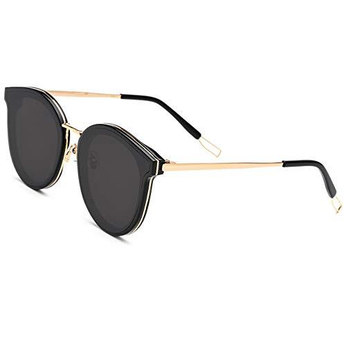 WULE-Sunglasses Unisex Outdoor Travel Round Frame Brille Grau Objektiv UV400 Schutzplatte Neue Sonnenbrille (Farbe : Black)