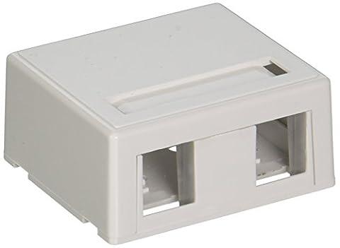 C2G Keystone Jack Surface Mount Box 2-Port White - network splitters (White, Cat5E)