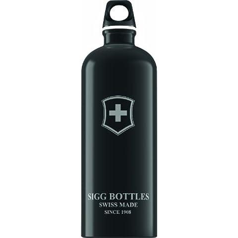 Sigg Swiss Emblem - Cantimplora, diseño con la bandera de Suiza negro negro Talla:0,6l