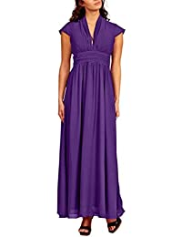 c0e75a9ae5 Full length Evening Gown Cap sleeves Pleated Neckline Empire Waist Chiffon  Party Formal Dress UK