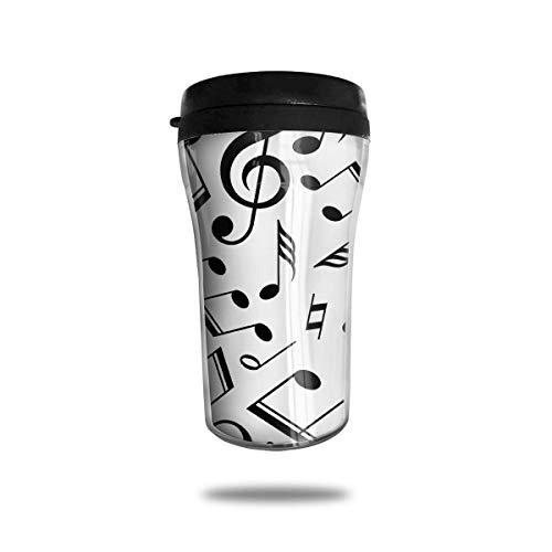Bgejkos Wärmeisolierung Wasserflaschen Musikalische Note Drucken Edelstahlbecher mit Deckel Große Reisekaffeetasse (20 Unze-kaffee-tasse Deckel)