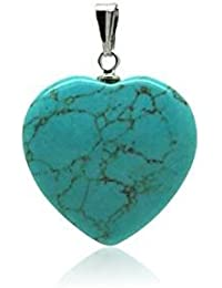 Colgante minerales corazón–turquesa