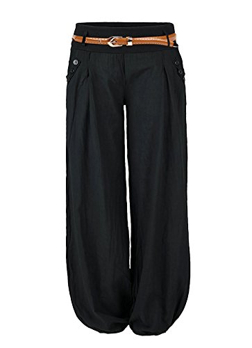 Damen Haremshose Elegant Winter Pumphose Lange Leinen Hose mit Gürtel Aladin Pants,1 Hosen+1 Gürtel (L, Schwarz) Capri Spandex Jersey