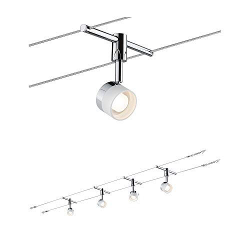 Paulmann 940.80 Seilsystem Stage Set Warmweiß 4x5W LED Weiß Chrom 94080 Seilleuchte Hängeleuchte