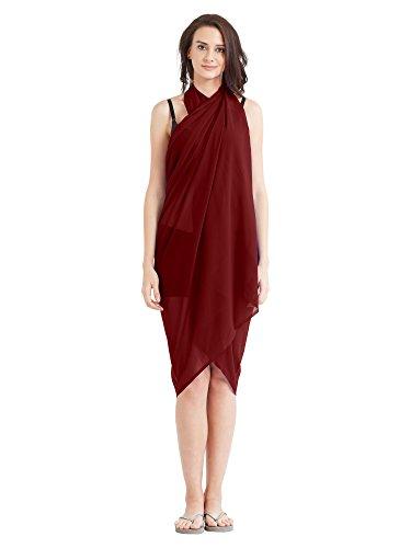 Women's Sarong Faux Georgette Beach Wear Wrap Swimsuit Cover Up Plain Maroon