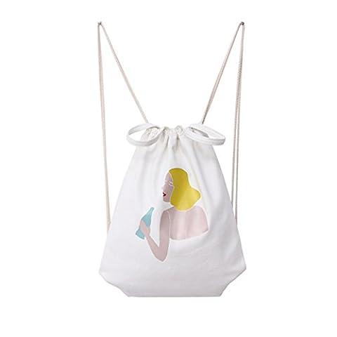 Laat Drawstring Rucksack-Tasche Kunstdruck Cartoon Leinwand Baumwolle tragbar Cinch Tasche Sporttasche Umhängetasche für Männer und Frauen