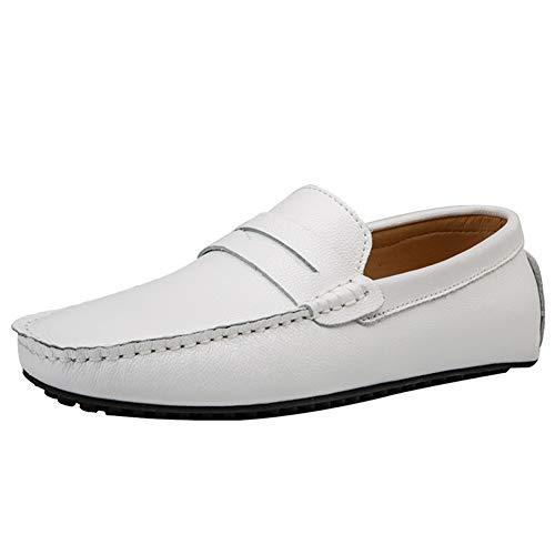 Premium-casual-schuhe (Herrenschuhe Komfort Fahren Schuhe Premium Leder Mode Slipper Casual Slipper Loafers,White,43)