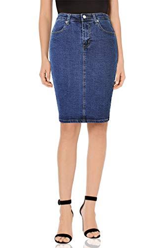 Monyray gonna di jeans gonna corta a vita alta matita elasticizzata in denim sbiadito con spacco sul retrobluit50
