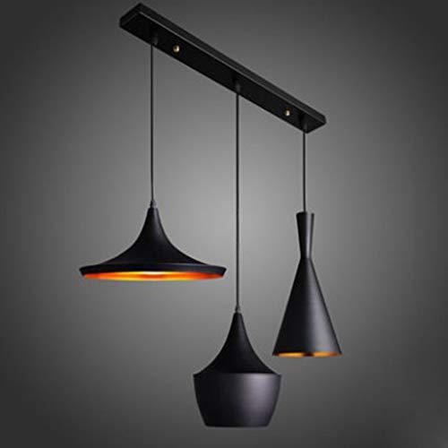 WEHOLY 3-Licht Industrielampe Retro Vintage Licht Anhänger Black Metal Loft Bar Deckenleuchte, Kabel Verstellbar - 120v 36 Led-glühbirne