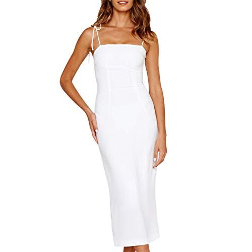 Damen sexy Hosenträger hinter den Öffnen Sie den Split ärmellos Langer Abschnitt Kleid Abendkleid URIBAKY