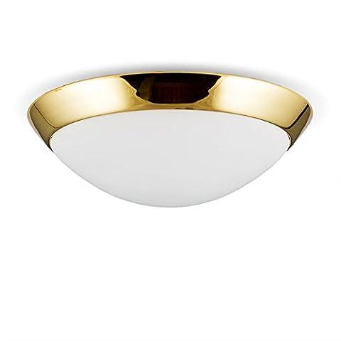 Helios Leuchten 146603 Deckenleuchte Deckenlampe Lampe Leuchte Bauhaus, echt Messing, geeignet für LED