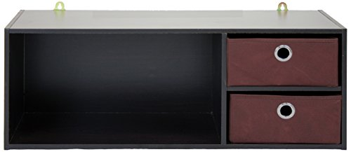 Furinno Laptoptisch 10005ex/BR Wandmontage Ablage mit 2Schubladen Abfalleimer, Espresso/braun -