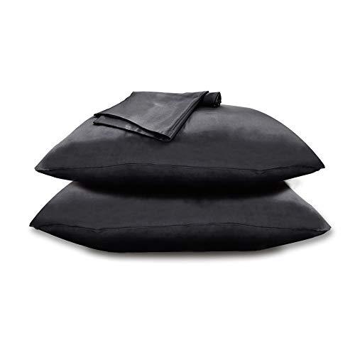 Zenssia Satin Kissenbezug Kissenhülle Seidig mit Reißverschluss Haar- und Hautpflege 2 Stücke, Schwarz, 80x80cm