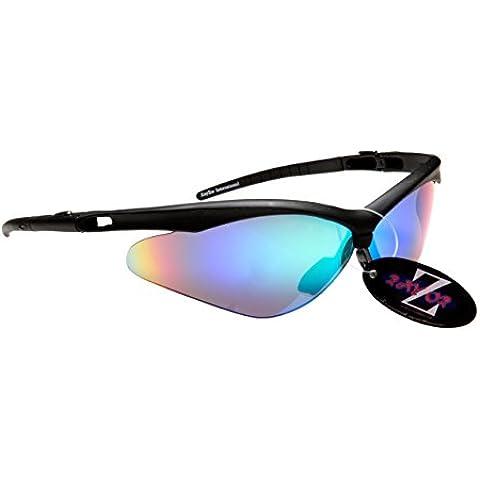 RayZor Liteweight UV400 Black Sports Wrap Running Sunglasses,Blue / Green Mir...