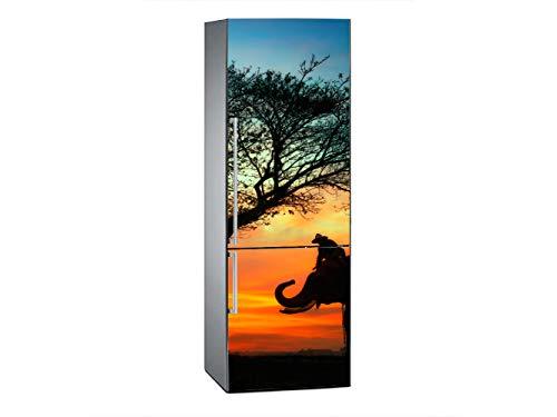 Oedim Vinilo para Frigorífico Elefantes en la Sabana 200x60cm   Adhesivo Resistente...