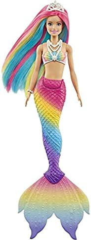 Barbie Dreamtopia Rainbow Magic Mermaid Doll with Rainbow Hair and Water-Activated Color Change Feature, Gift