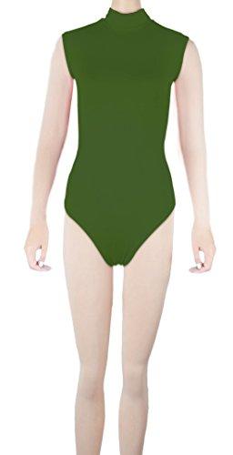 Howriis unisex Lycra SPandex senza maniche Dolcevita Hollow Out Back tanga Body Green