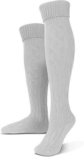 Circle Five Lange Trachtensocken Trachten Strümpfe für Lederhosen Kniebund Socken Natur Farbe Weiß Größe 43/46