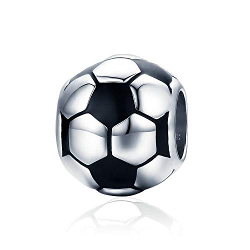 Fußball-Charm-Perlen für Damen und Halsketten, 100% 925 Sterlingsilber, Schwarz