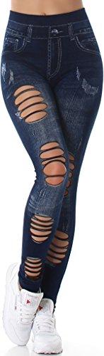 SL1 Damen High-Waist Jeans-Leggings Jeggings Risse Löcher Destroyed-Style Stretch (34/36/38) (6) Dunkelblau