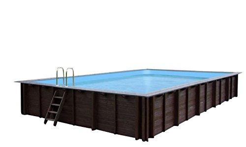 Gartenpool PEARL OF SOUTH, Schwimmbad Auf- und Erdeinbau, Holz, rechteckiges Schwimmbecken, 8,34 x 4,92 x 1,38 m, Pumpe, Poolleiter, Skimmer