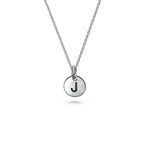 Winzige ABC Runde Scheibe Block Buchstabe Alphabet J Initialen Anhänger Mit Halskette Für Damen Sterling Silber