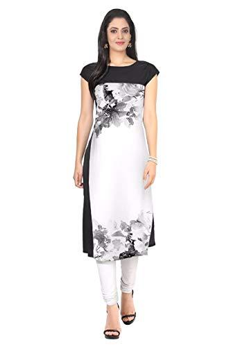 Sunshine Fashion Women's Digital Printed Straight Crepe Short Sleeve Round Neck Kurti for Girl's (SUNK890 White and Black X-Large Crepe Kurta Printed)