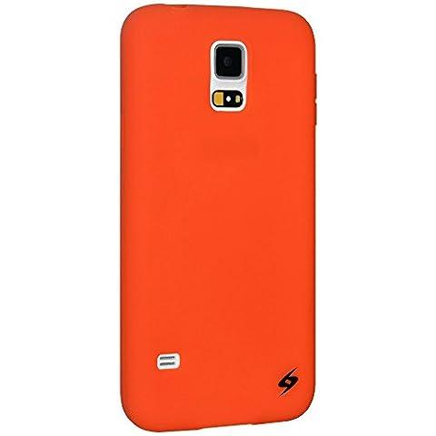 Amzer Silicone Skin Jelly Case Cover for Samsung Galaxy S5 SM-G900 - Orange