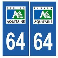 Autocollant plaque immatriculation auto département 64 Pyrénées Atlantiques