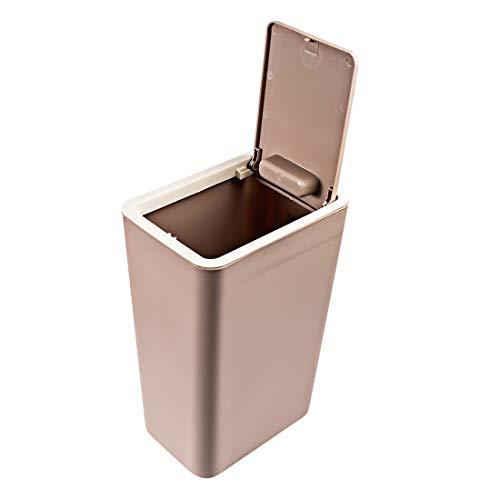 iVansa Mülleimer Büro Kunststoff Papiekorb mit Deckel Dekorativer Abfalleimer für Wohnzimmer Schlafzimmer Badezimmer - 8L, 15×22×34cm