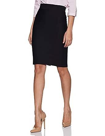 Poles Apart Women Formal Pencil Skirt with Slit - Black, red, RoyalBlue, Green, Maroon, Off-White, Navy