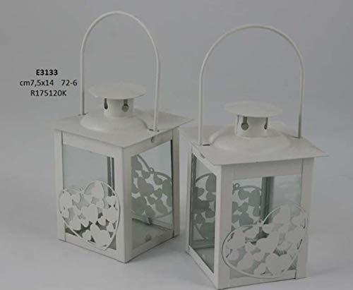 Lanterna portacandela in metallo con cuoricini bomboniera matrimonio all