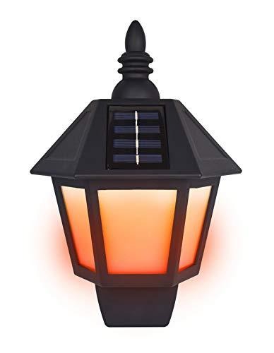 2 Pack Outdoor Solar Blazing Wall Lights, Flimmern Orange Light Effect, 6 Led, 120 Lumen Light Output, Polykristalline Silicon Solar Panel Led Lumen Output